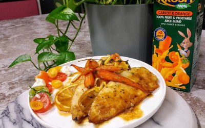 Roast citrus fish with orange glazed carrots