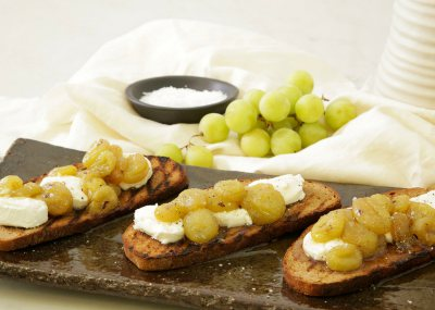 Roasted Grapes & Goat Cheese on Croute