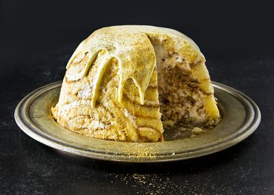 Rum butter stollen and caramel bombe