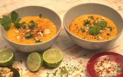 Spiced carrot and sweet potato soup