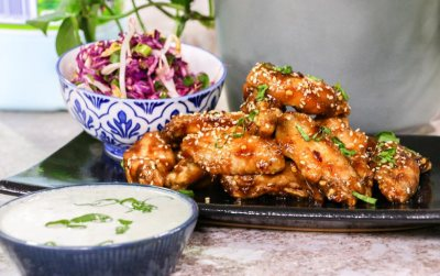 Spicy Asian Chicken wings with Fresh milk Blue Cheese dip