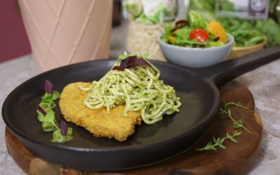 Woolworths Plant powered schnitzel and pesto noodles