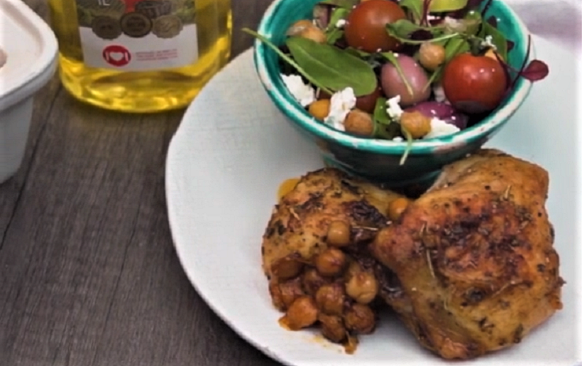 Crispy baked chicken with chickpeas salad