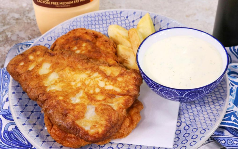 Nolac Crispy fish and chips with Nolac tartar sauce